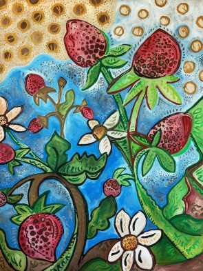 "Strawberries | 2017 | Acrylic (Metallic & Matte) on Canvas | 36"" x 48"""